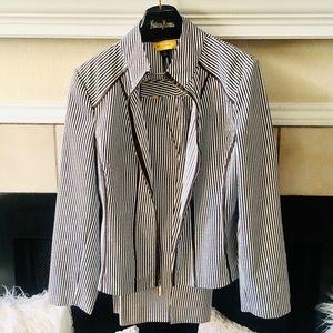 St John Pique Brown & White Pinstriped Suit 10 12